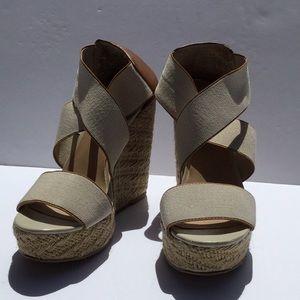 Nude wedge sandals